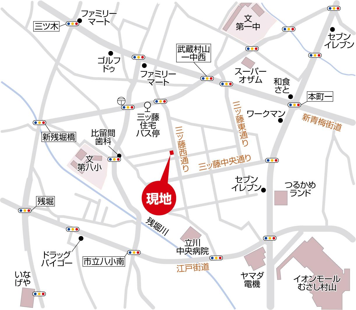 新築分譲住宅 全2棟 武蔵村山市三ツ藤1丁目 終了いたしましたマップ