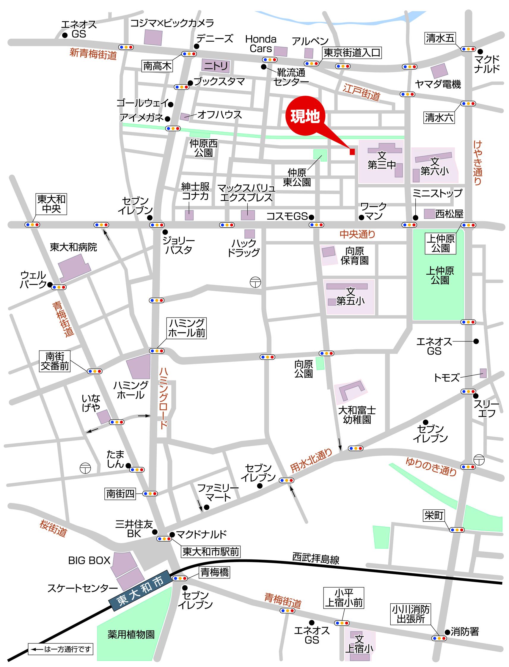 新築分譲住宅 全2棟 東大和市仲原2丁目 終了いたしました。マップ