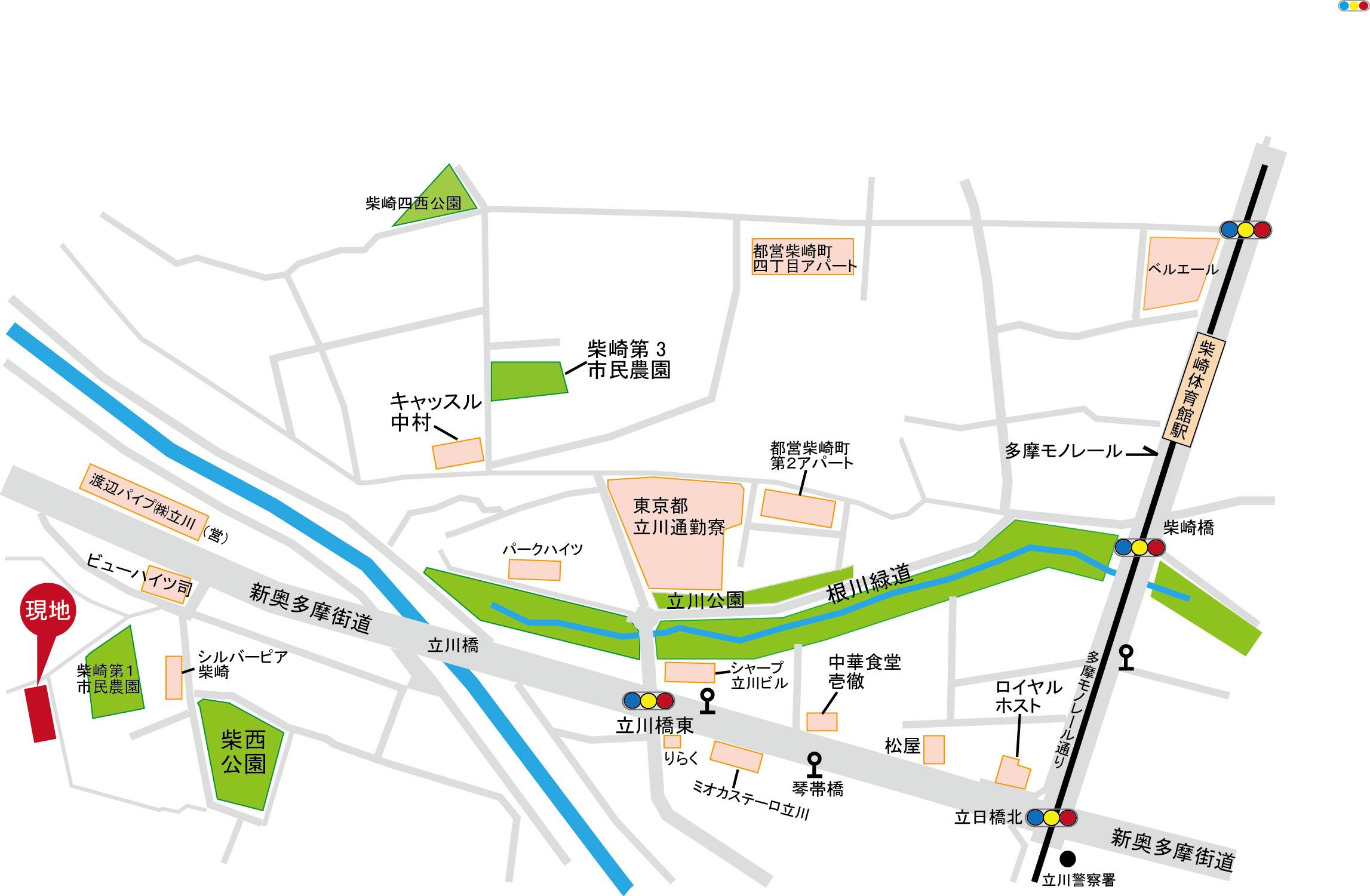 新築分譲住宅 立川市柴崎町5丁目 全4棟終了いたしましたマップ