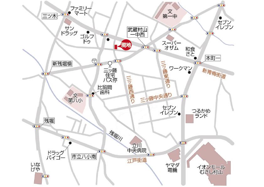 武蔵村山市三ツ藤1丁目 4棟 終了となりましたマップ