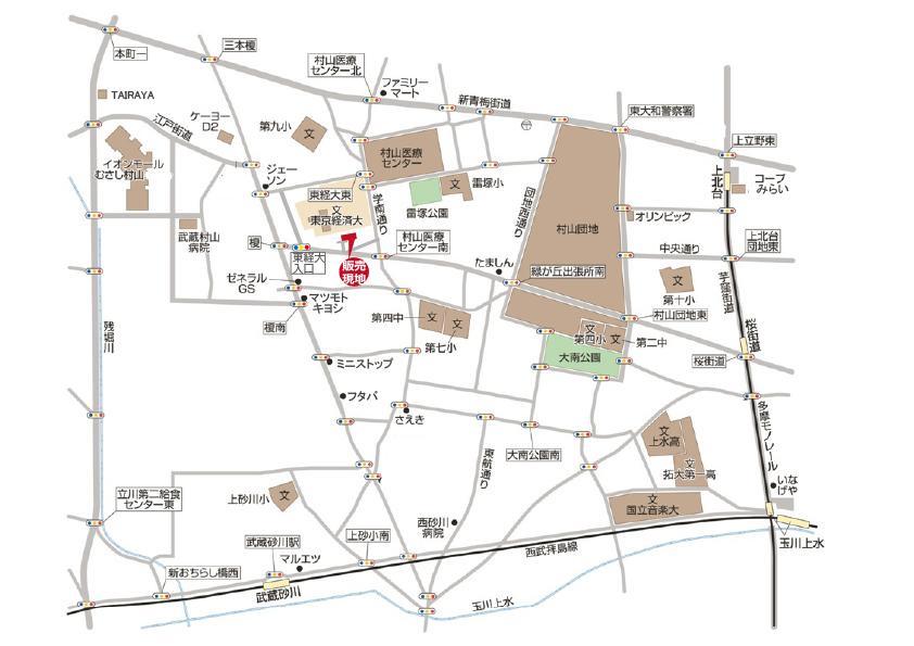 武蔵村山市学園5丁目 新築分譲住宅  終了となりましたマップ