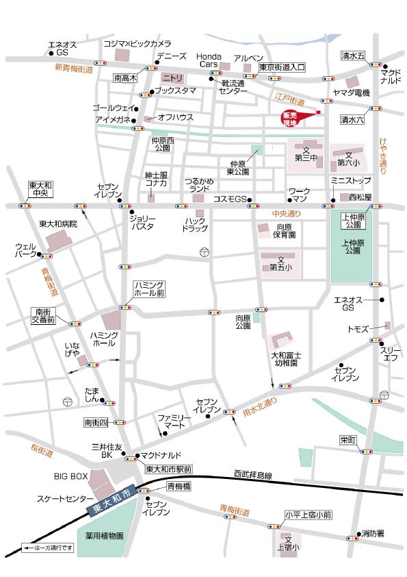 東大和市仲原2丁目 売地 1区画 終了となりましたマップ
