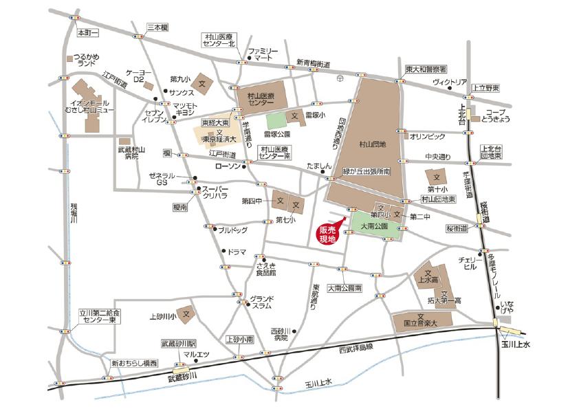 武蔵村山市大南2丁目 新築住宅 全1棟 終了となりましたマップ
