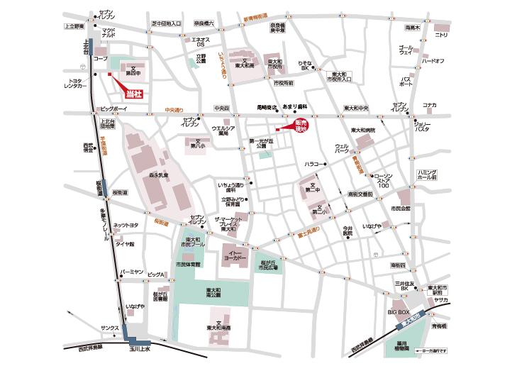 東大和市南街3丁目 建築条件無し売地  最終1区画マップ