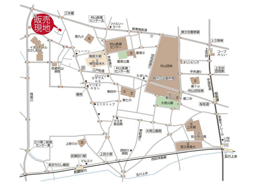 武蔵村山市榎3丁目 新築戸建 終了となりましたマップ