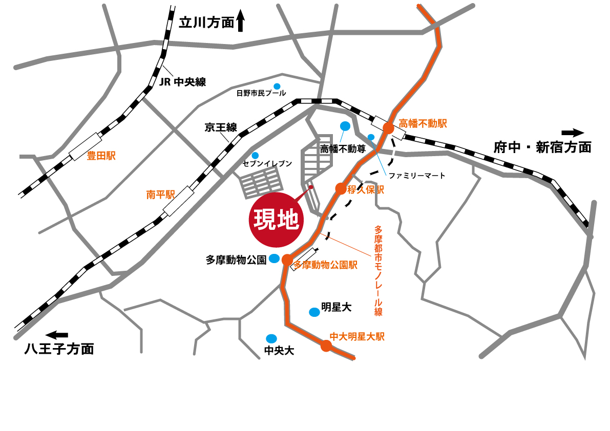 """日野市三沢5丁目 """"条件無し売地"""" 全1区画 終了となりましたマップ"""
